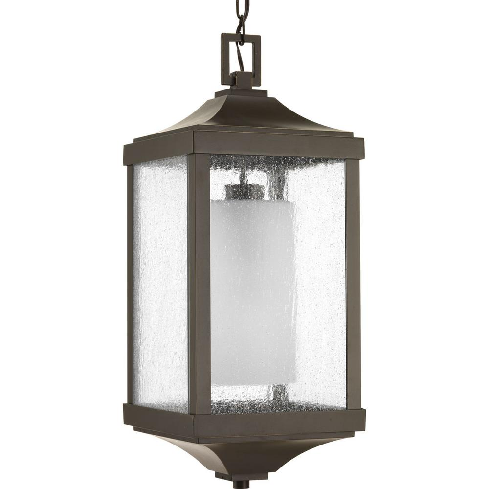 Progress Lighting Devereux Collection 1-Light Outdoor Antique Bronze Hanging Lantern