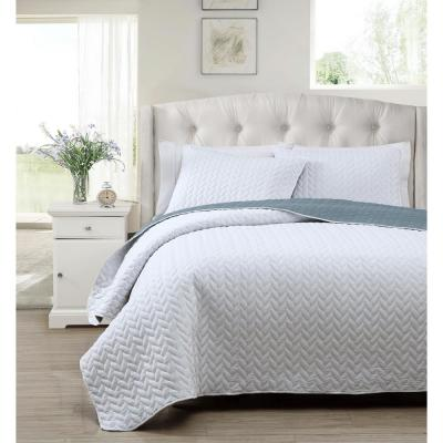 Mirai 3 Piece White-Blue Full/Queen Reversible Coverlet Set