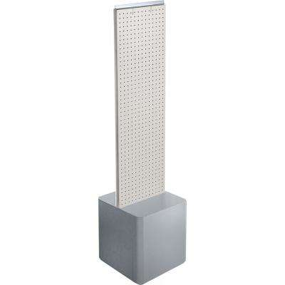 44 in. H x 13.5 in. W 2-Sided Pegboard Floor Display on Silver Studio Base