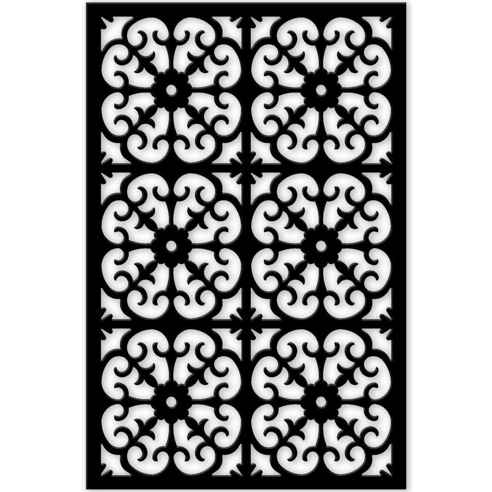 Acurio Latticeworks 1 4 In X 32 In X 4 Ft Black Roman