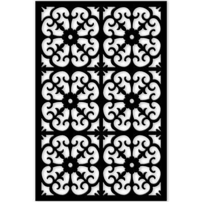 Roman 32 in. x 4 ft. Black Vinyl Decorative Screen Panel