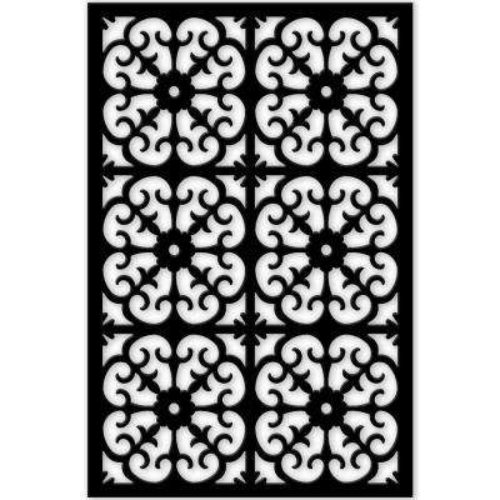 Roman 32 in. x 4 ft. Black Vinyl Decorative Screen Panel