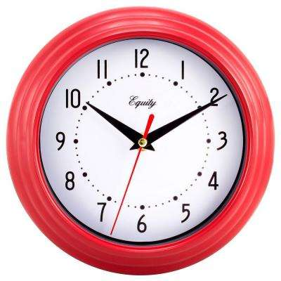 8 in. Round Red Quartz Wall Clock