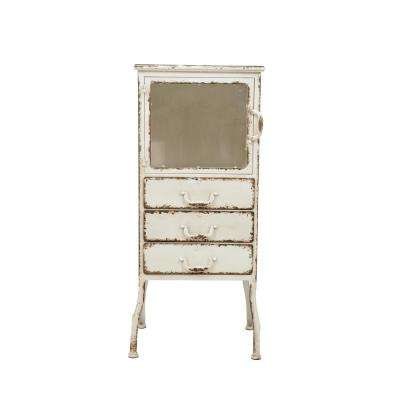 White Metal Cabinet with 3-Drawers