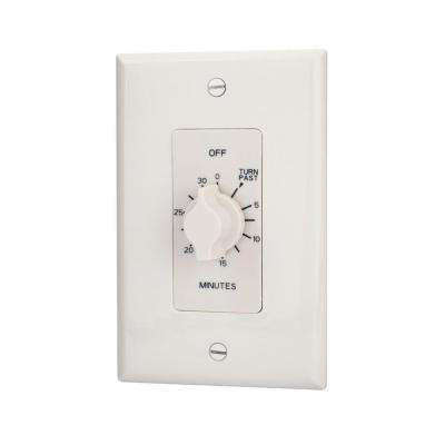 Multi-Volt 30-Minute Spring-wound Auto Off In-Wall Timer - White