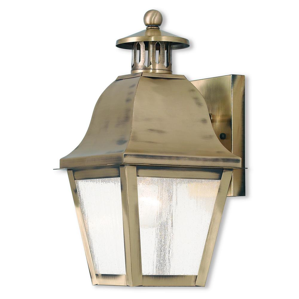 Livex Lighting Amwell 1 Light Antique Br Outdoor Wall Lantern Sconce