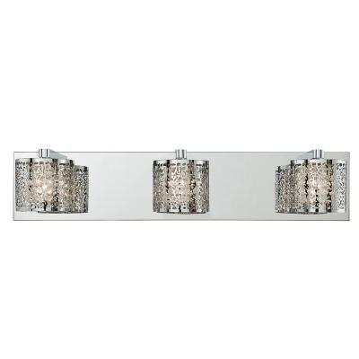 20.5 in. 3-Light Mirrored Stainless Steel Vanity Light with Laser Cut Shades