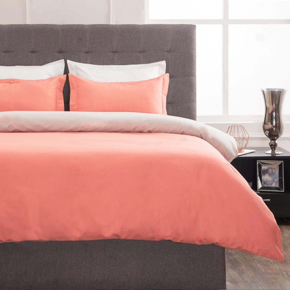 Grant Coral and Warm Gray Full Duvet Set