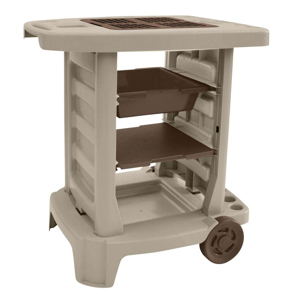 Suncast Portable 33 in. x 33 in. Resin Garden Cart-GC1500BT - The ...