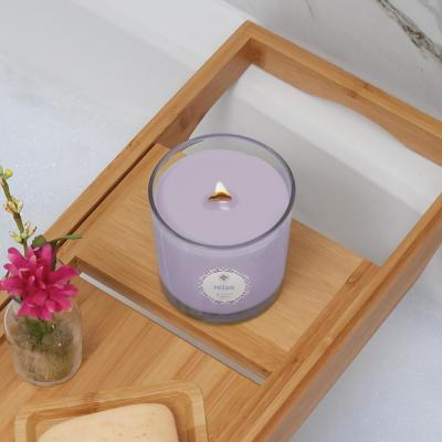 Seeking Balance Relax Geranium Lavender Floral Scented Beeswax Blend Jar Candle with Wood Wick
