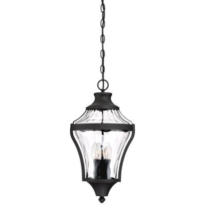 Libre Collection Black Outdoor 4-Light Hanging Lantern with Clear Water Glass
