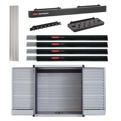 FastTrack 24 in. H x 48 in. L Black/Gray Slat Wall/Tool Cabinet Bundle (9-Piece)