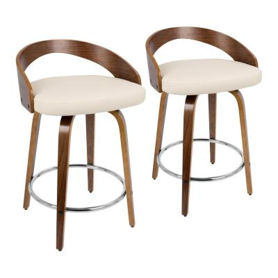 Grotto 24 in. Walnut and Cream Faux Leather Counter Stool (Set of 2)
