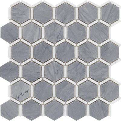 Ambrosia Cardiff Gray and Thasos Marble Mosaic - 3 in. x 6 in. x 10 mm Tile Sample