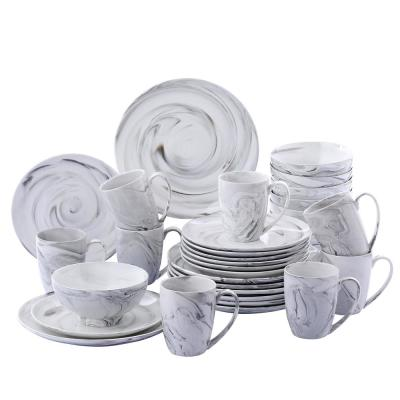 16-Piece Modern Marble Pattern Black Porcelain Dinnerware Sets (Service for Set for 4)