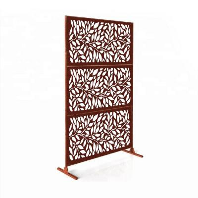 New Style Metal Art Laser Cut Metal Rust Tree Leaves Privacy Fence Screen (24 in. x 48 in. per Piece 3-Piece Combo)