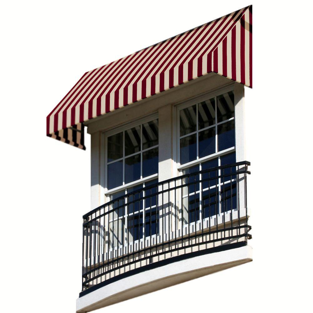AWNTECH 14 ft. New Yorker Window Awning (44 in. H x 24 in. D) in Burgundy/Tan Stripe