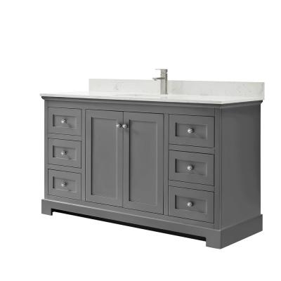 Ryla 60 in. W x 22 in. D Single Bath Vanity in Dark Gray with Cultured Marble Vanity Top in Carrara with White Basin