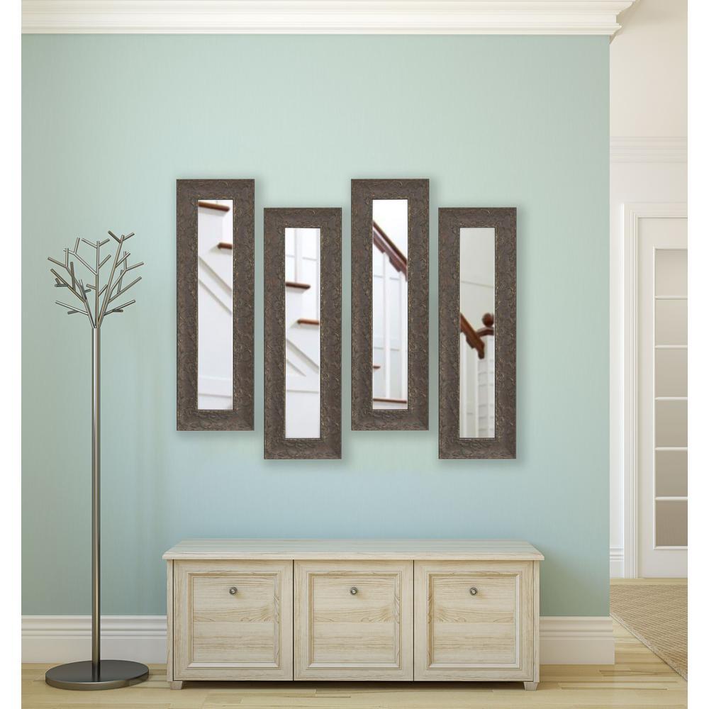 22 inch x 10 inch Maclaren Brown Vanity Mirror (Set of 4-Panels) by