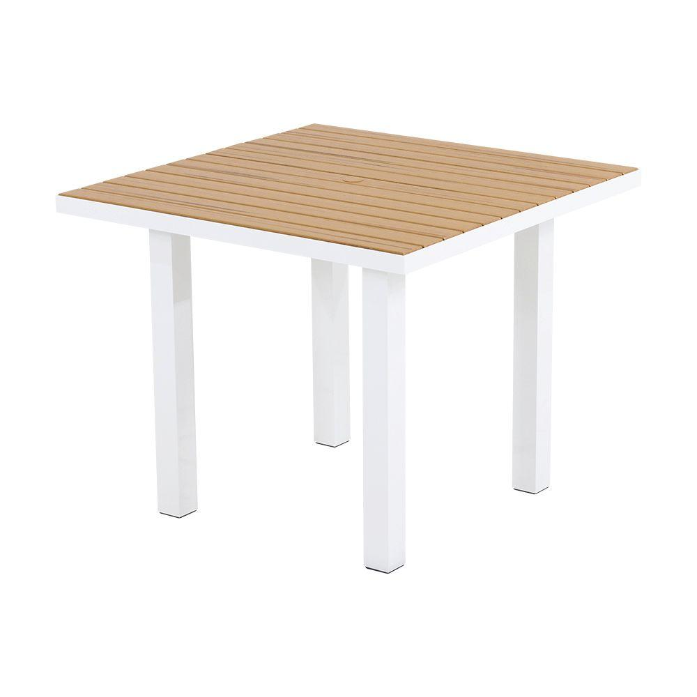 Euro Satin White/Plastique 36 in. Square Patio Dining Table