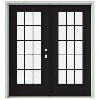 72 in. x 80 in. Black Prehung Left-Hand Inswing 15 Lite French Patio Door with Brickmould