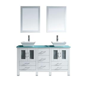 Virtu USA Bradford 60 inch W x 22 inch D Vanity in White with Glass Vanity Top in Aqua with White Basin and Mirror by Virtu USA