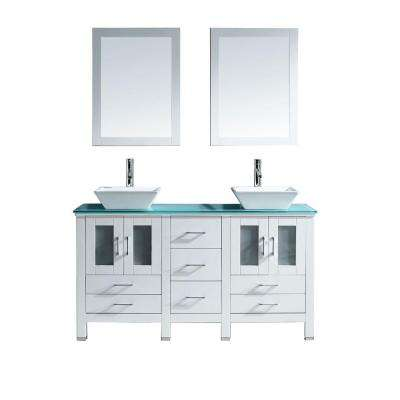 Bradford 60 in. W x 22 in. D Vanity in White with Glass Vanity Top in Aqua with White Basin and Mirror