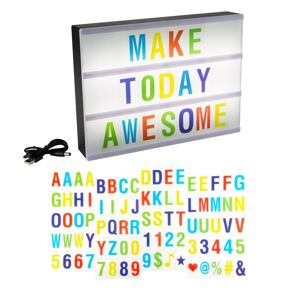 Cinematic Light Decorative Box Sign with Interchangeable Multi-Colored Letters