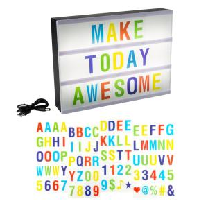 Lavish Home LED Cinematic Light Decorative Box Sign with Interchangeable Multi-Colored Letters and Symbols (Multicolor)