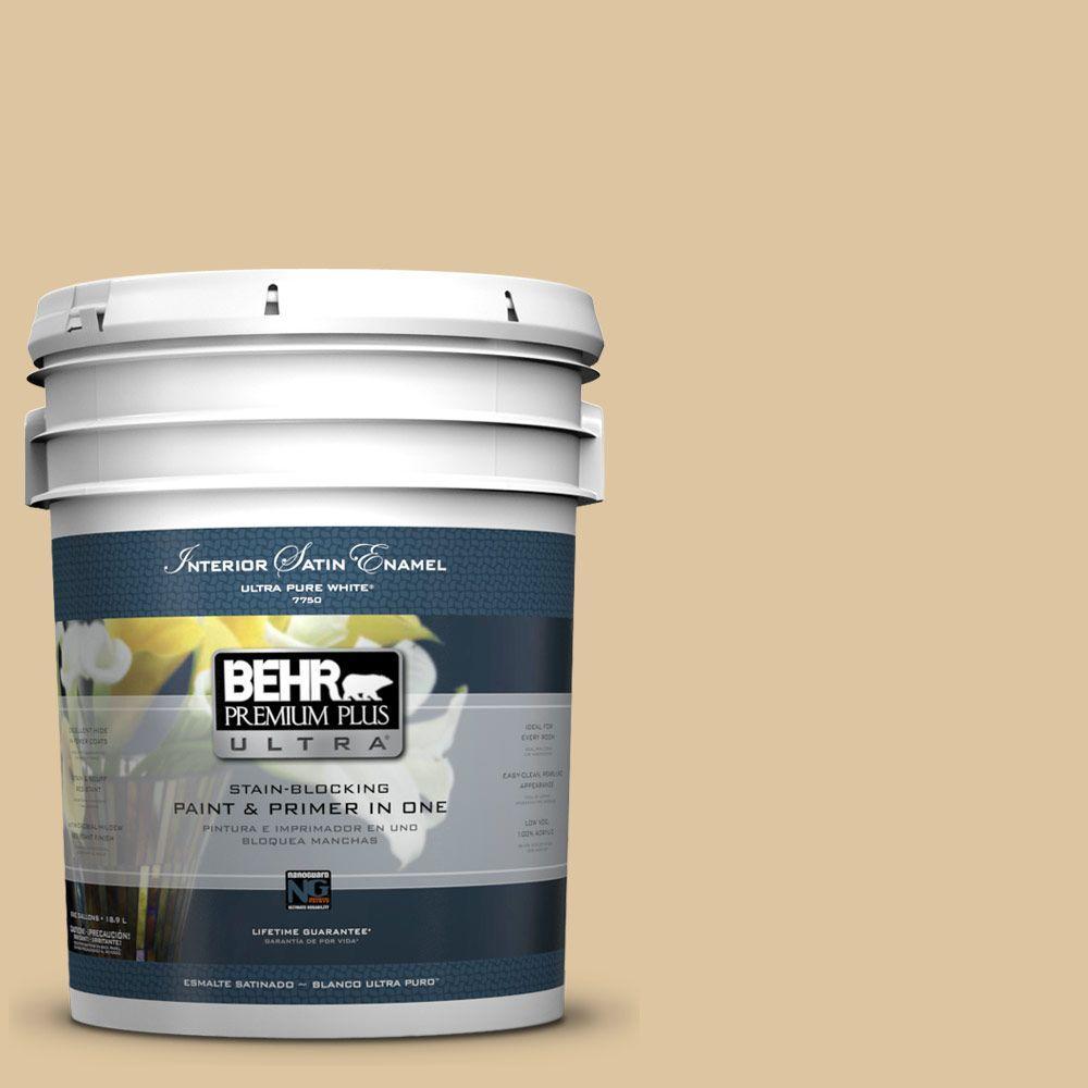 5-gal. #320E-3 Riviera Sand Satin Enamel Interior Paint