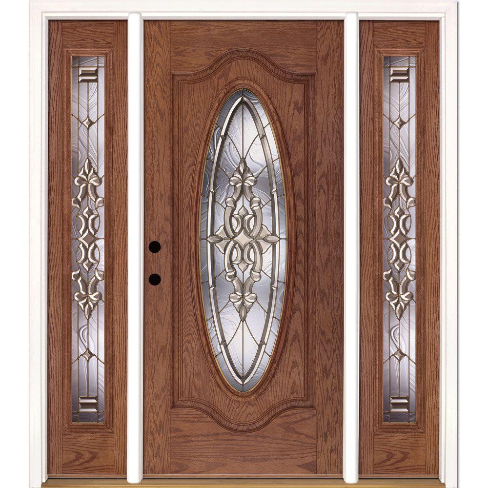 63.5 in.x81.625 in. Silverdale Brass Full Oval Stained Medium Oak Right-Hand