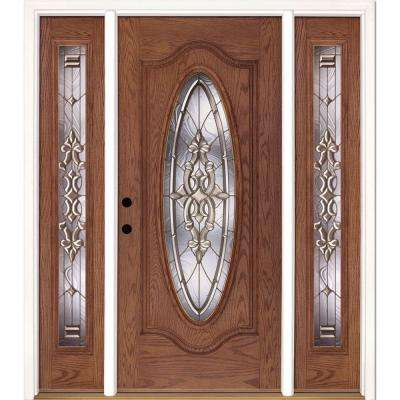 63.5 in.x81.625 in. Silverdale Brass Full Oval Stained Medium Oak Right-Hand Fiberglass Prehung Front Door w/ Sidelites