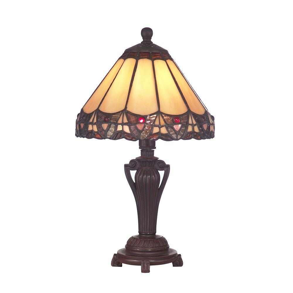 Dale Tiffany 14 in. Peacock Antique Bronze Accent Lamp