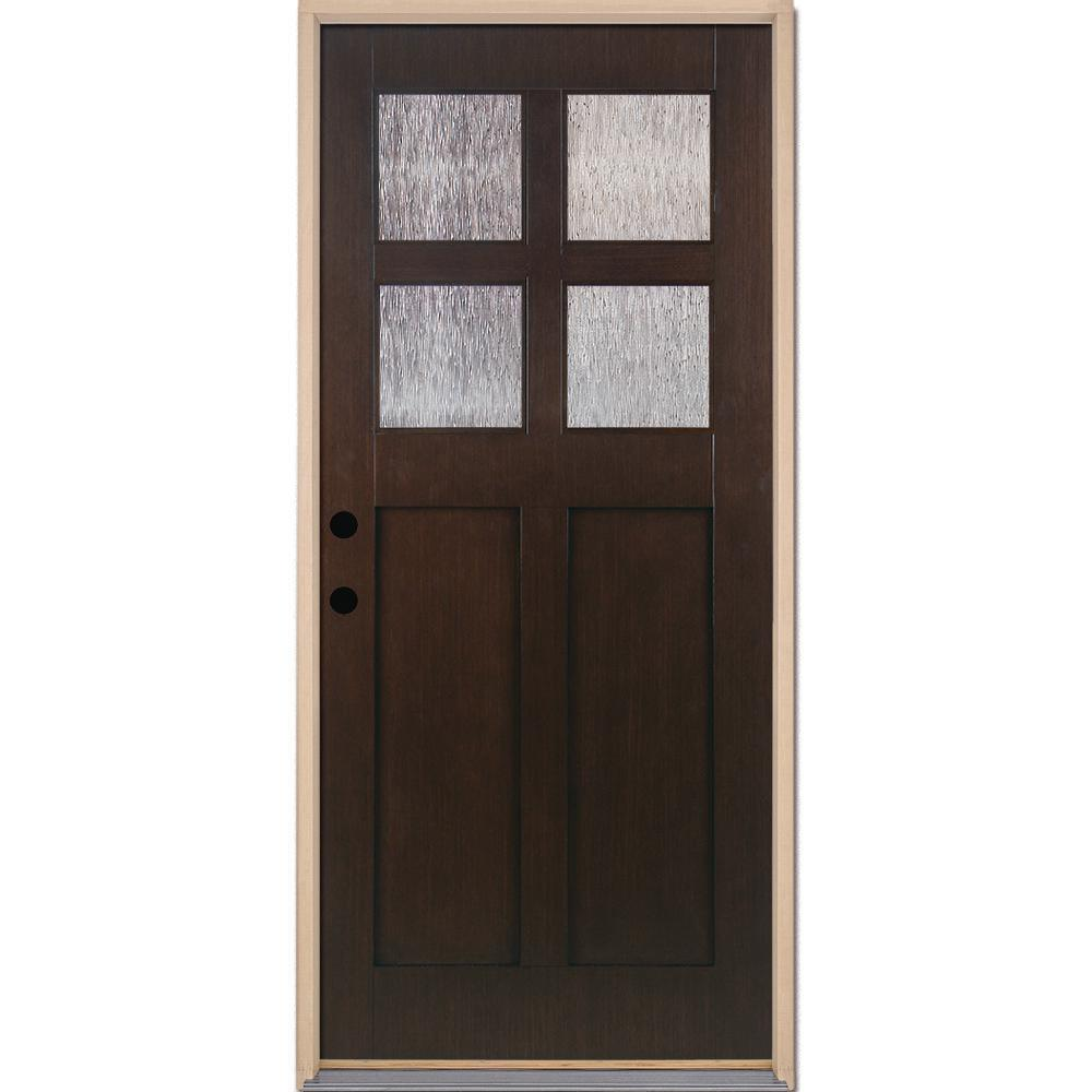 Feather River Doors 37.5 in. x 81.625 in. 4-Lite Cord Craftsman Stained  sc 1 st  The Home Depot & Feather River Doors 37.5 in. x 81.625 in. 4-Lite Cord Craftsman ...