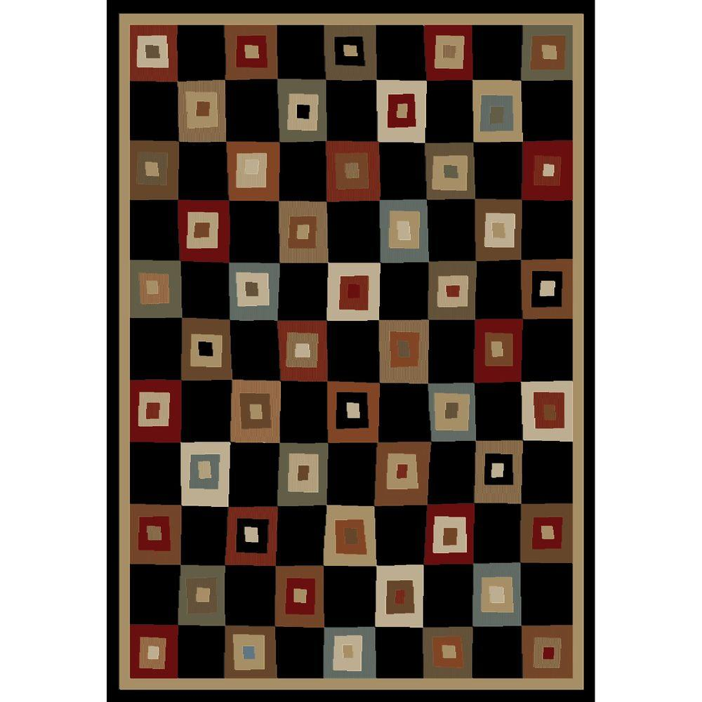 Concord Global Trading Soho Village Square Black 5 ft. 3 in. x 7 ft. 3 in. Area Rug