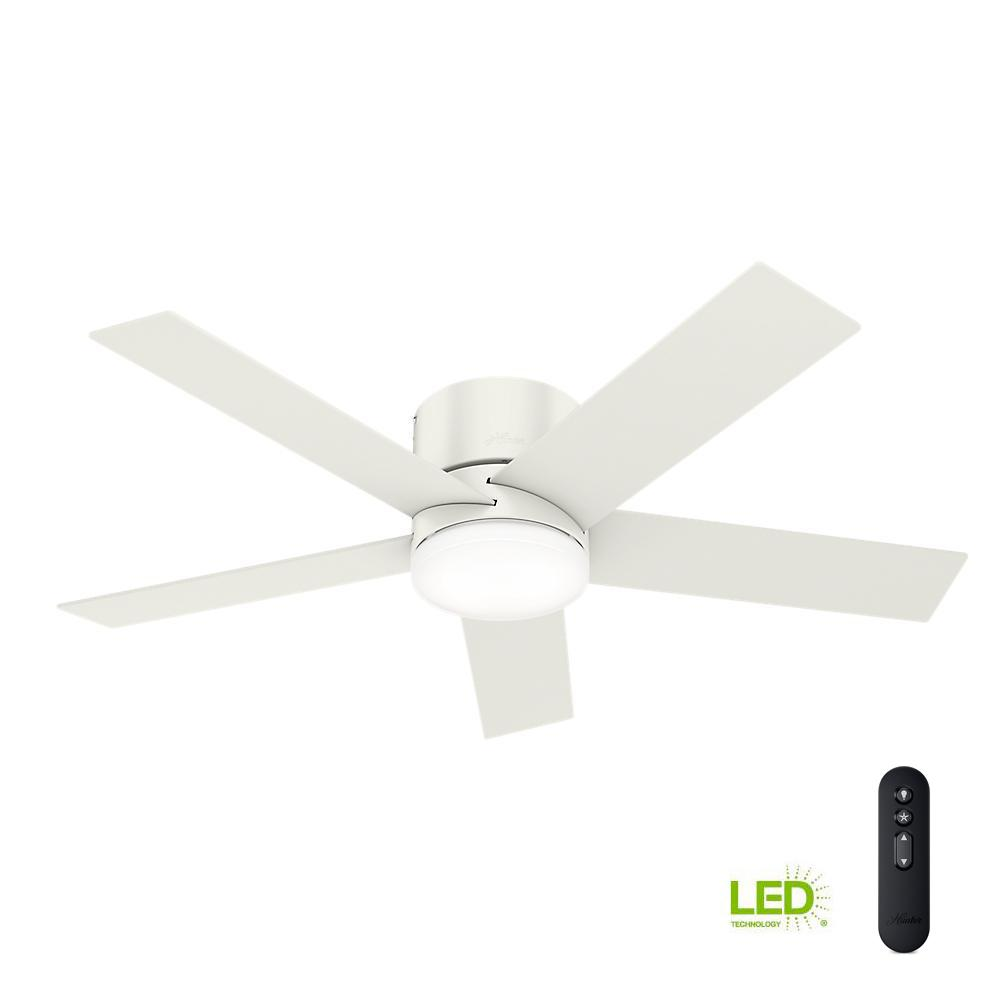 Hunter Clanton 52 Brushed Slate Ceiling Fan With Light: White Ceiling Fan With Led Light And Remote