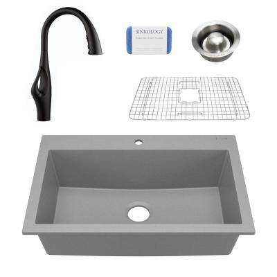 Camille All-in-One Drop-In Granite Composite 33 in. 1-Hole Single Bowl Kitchen Sink with Pfister Faucet in Graphite Gray