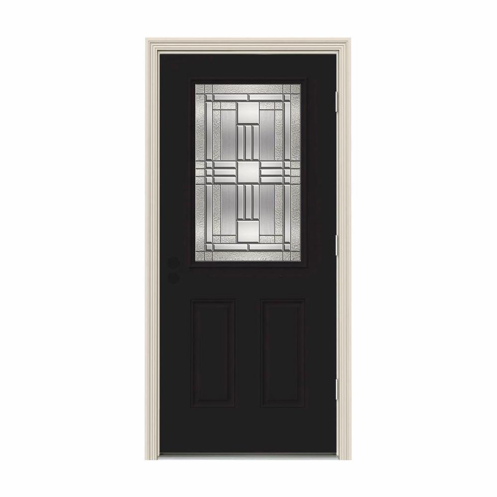 32 in. x 80 in. 1/2 Lite Cordova Black Painted Steel Prehung Left-Hand Outswing Front Door w/Brickmould