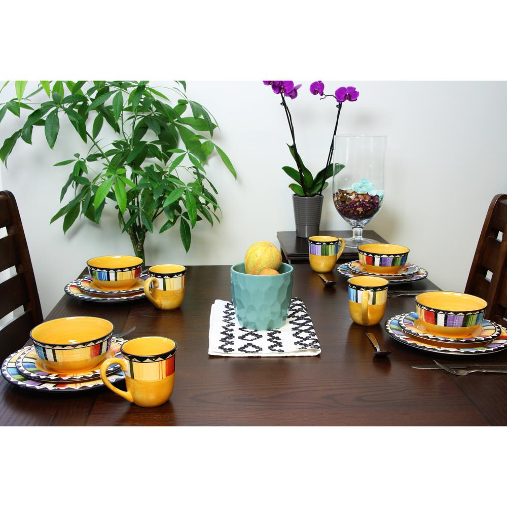 GIBSON HOME Fandango 16 Piece Yellow Dinnerware Set