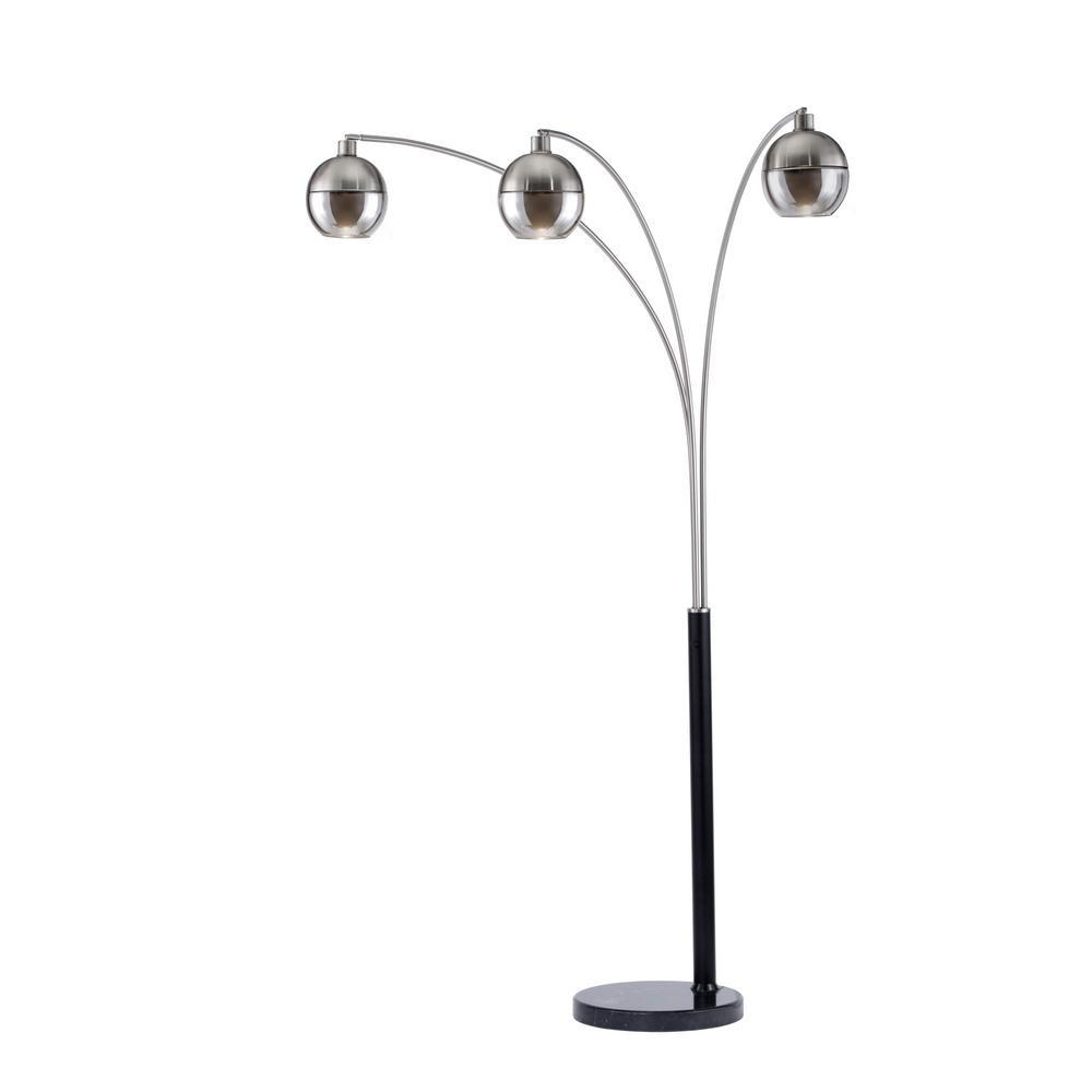 NOVA of California Orson 84 in. 3-Light Brushed Nickel Arc Lamp