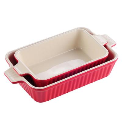 2-Piece Red Rectangle Porcelain Bakeware Set 12 in. and 13 in. Baking Dish