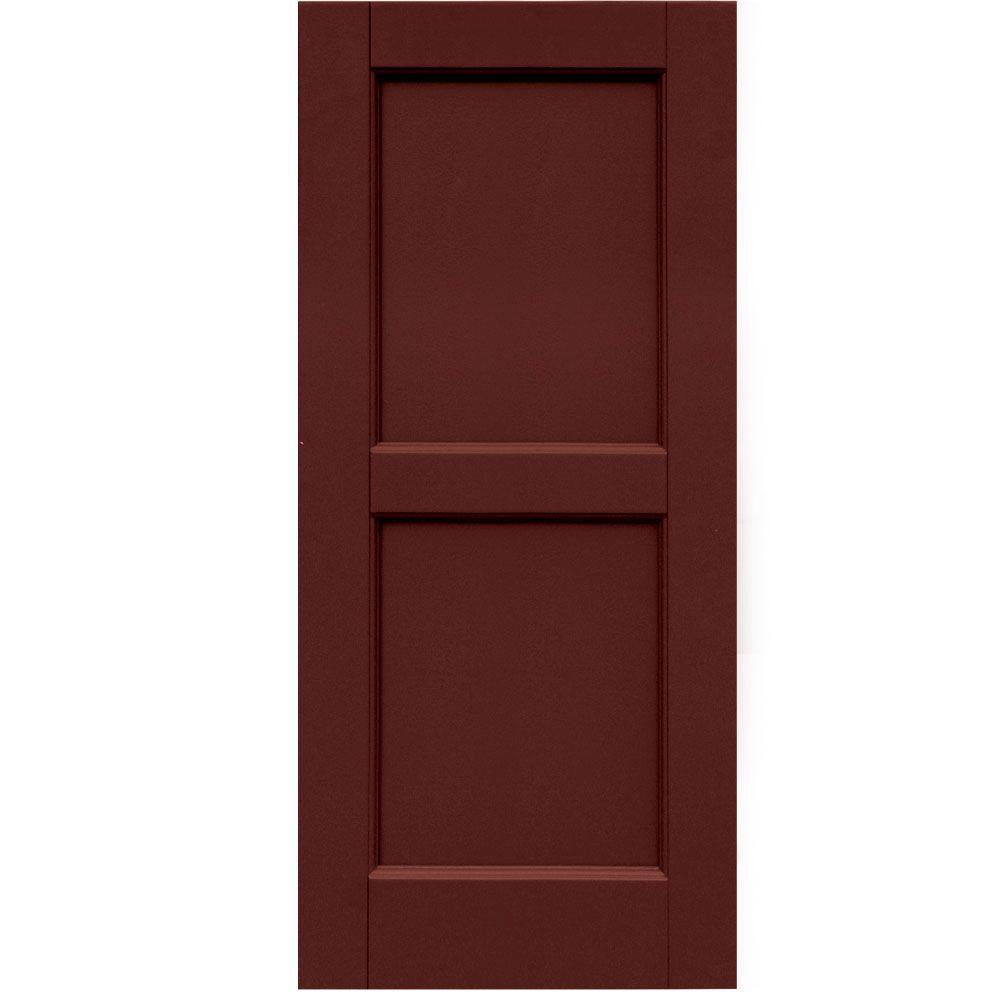Winworks Wood Composite 15 in. x 34 in. Contemporary Flat Panel Shutters Pair #650 Board and Batten Red