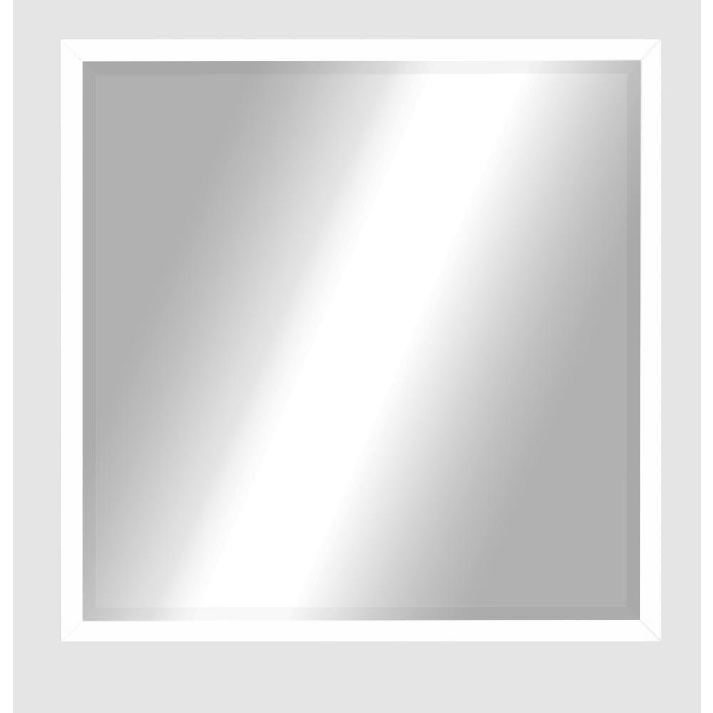 25.25 in. x 25.25 in. Matte White Metal Square Mirror