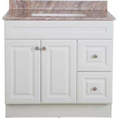 Glensford 37 in. W x 38.46 in. H Vanity in White with Stone Effects Vanity Top in Cold Fusion with White Basin