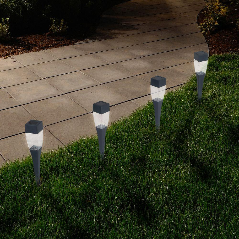 Pure Garden Solar Ed Led Black Modern Pathway Light 24 Pack