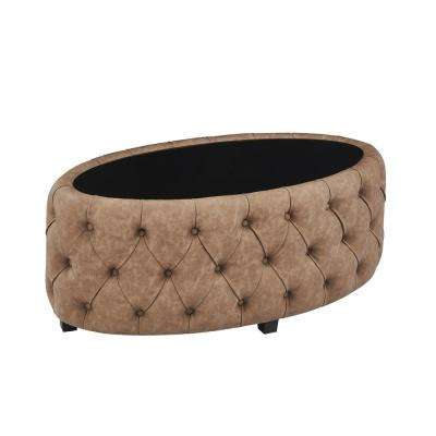 Blossom Brown Faux Leather Contemporary Ottoman