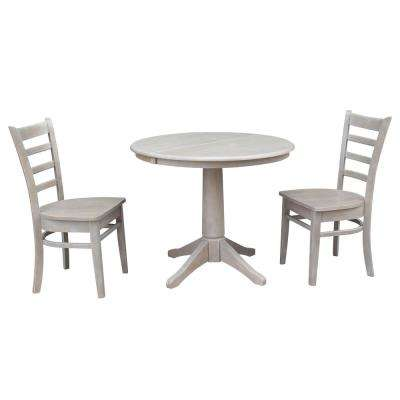 Olivia 3-Piece Oval Weathered Gray Dining Set with Emily Chairs