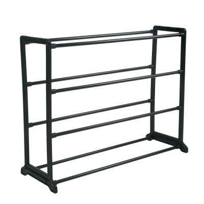 Stackable 12-Pair Black Shoe Rack