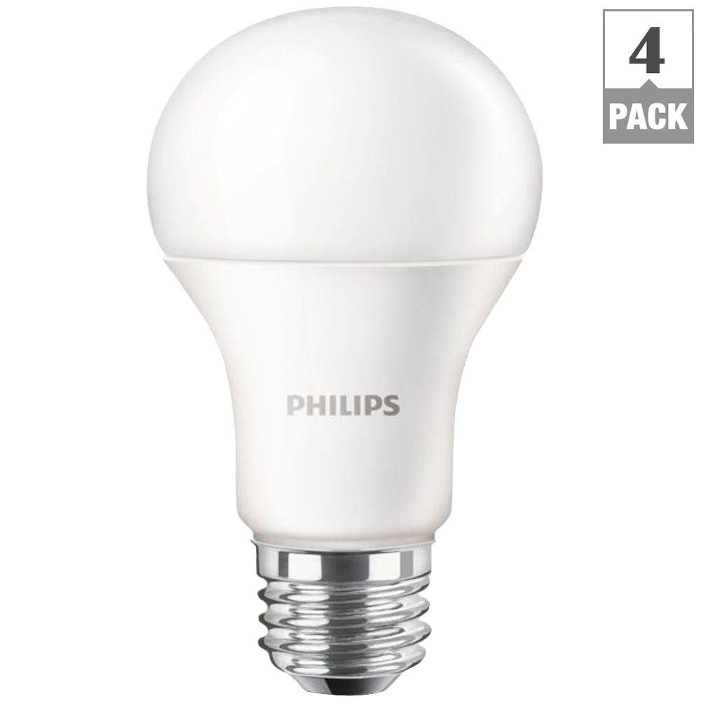 philips 100 watt equivalent a19 led light bulb soft white 4 pack 455675 the home depot. Black Bedroom Furniture Sets. Home Design Ideas