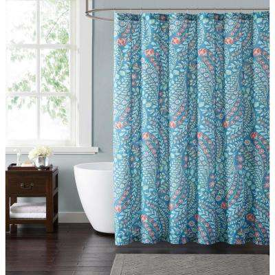Jaclyn Geo 72 in. Teal and Coral Shower Curtain